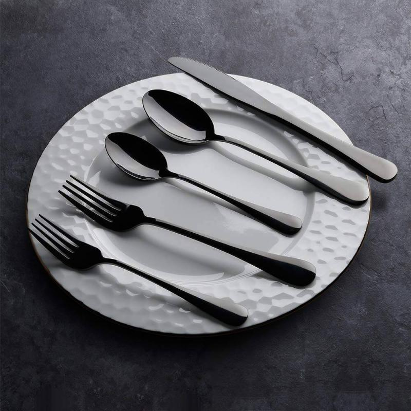Black Silverware Set, 20-Piece Flatware Cutlery Set