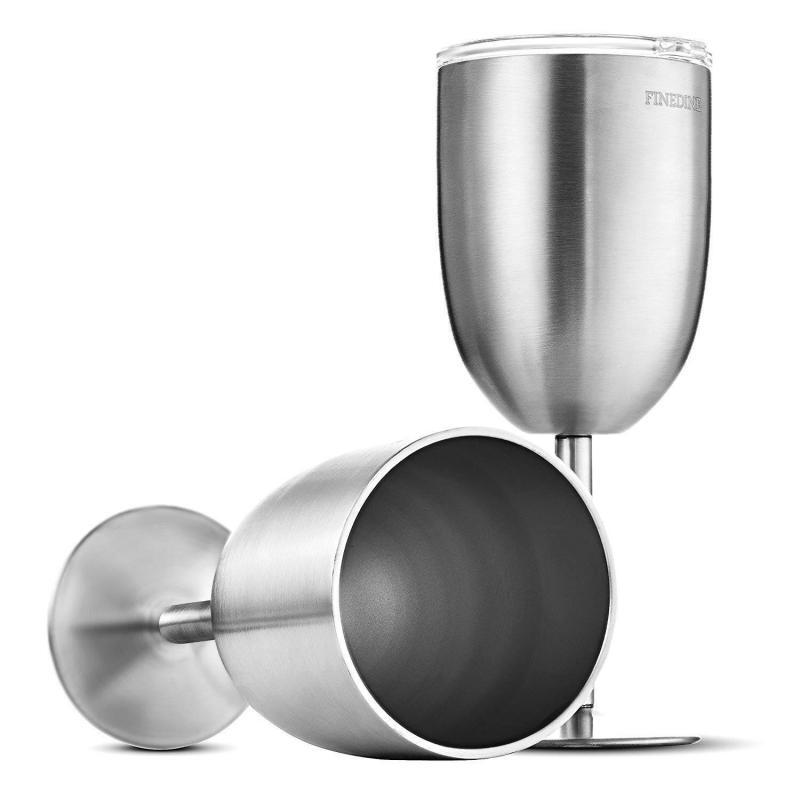 FineDine Premium Grade 18/8 Stainless Steel Wine Glasses 12 Oz.
