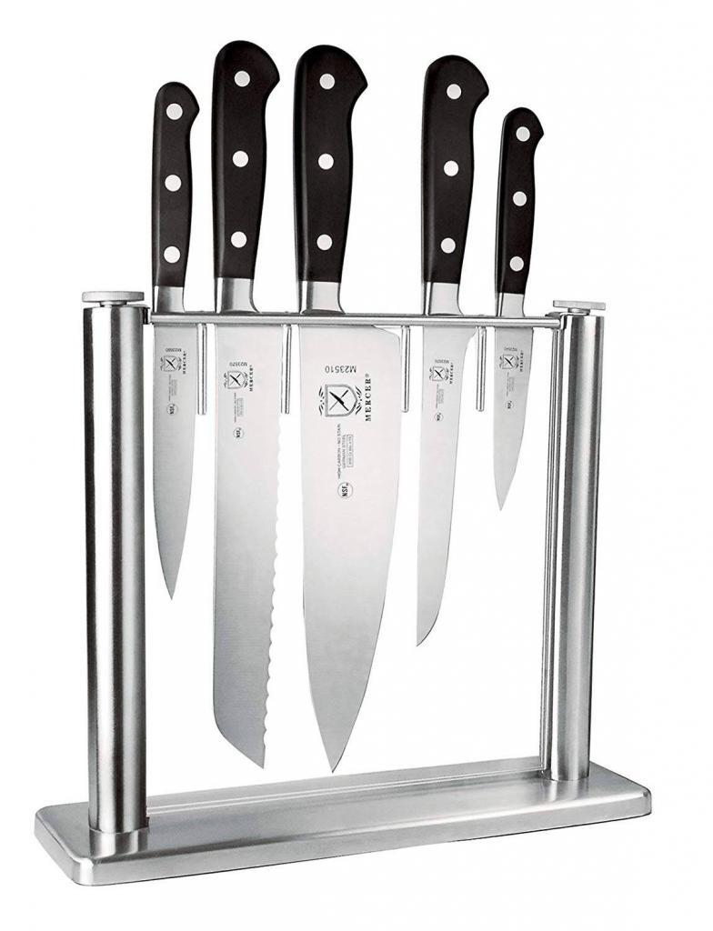 Mercer Culinary 6-Piece Forged Knife Block Set, Glass
