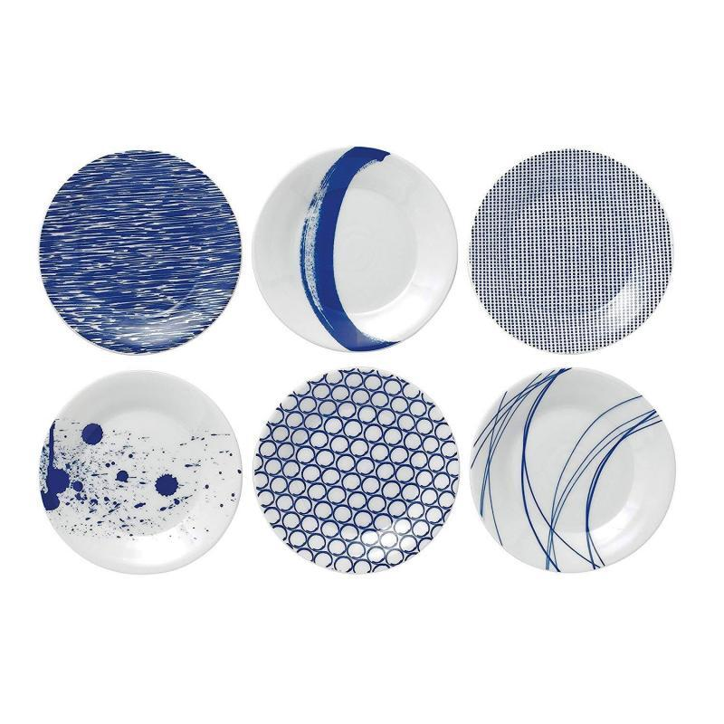 Royal Doulton Pacific Tapas Plates, 6.3-Inch, Blue, Set of 6 Plates