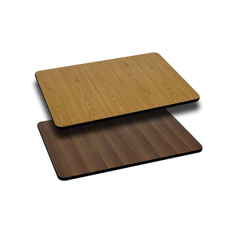"Flash Furniture 24"" x 30"" Rectangular Table Top with Natural or Walnut Reversible"