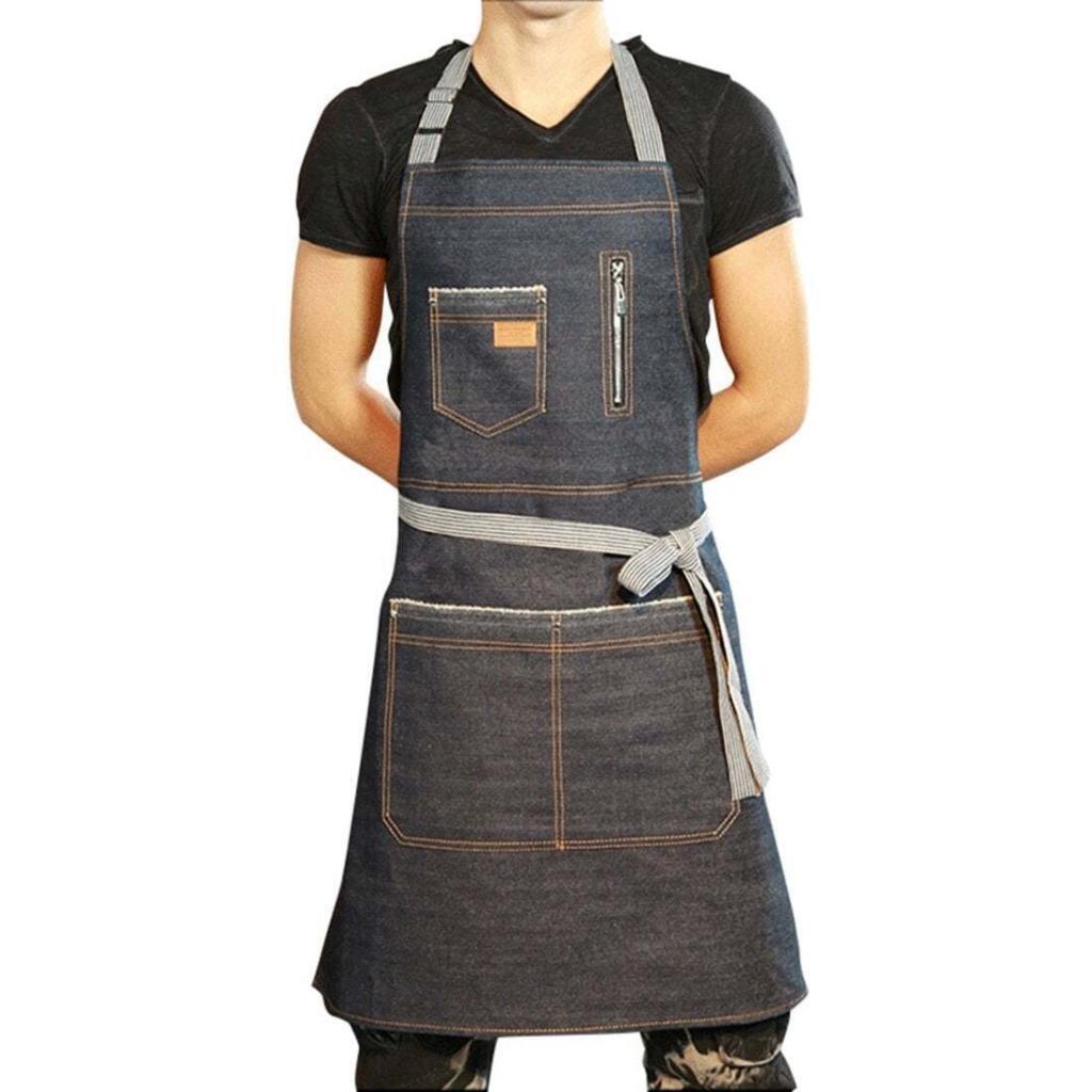 Jiyaru Chef Adjustable Denim Bib Apron with Pockets Kitchen Cooking Workwear