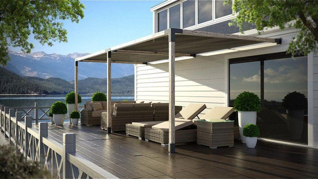 Double Side Pergola with Shade Panels