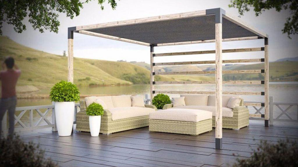 Pergola Kit with Shade Panel & Post Wall or Railing