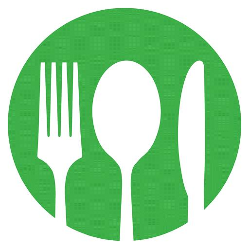 Fork knife plate logo green